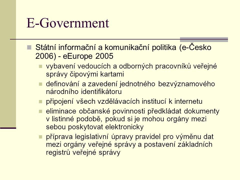 E-Government Státní informační a komunikační politika (e-Česko 2006) - eEurope 2005.