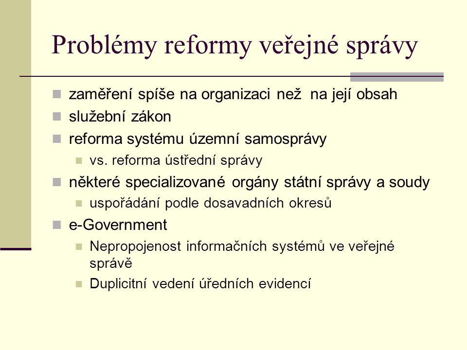 Problémy reformy veřejné správy