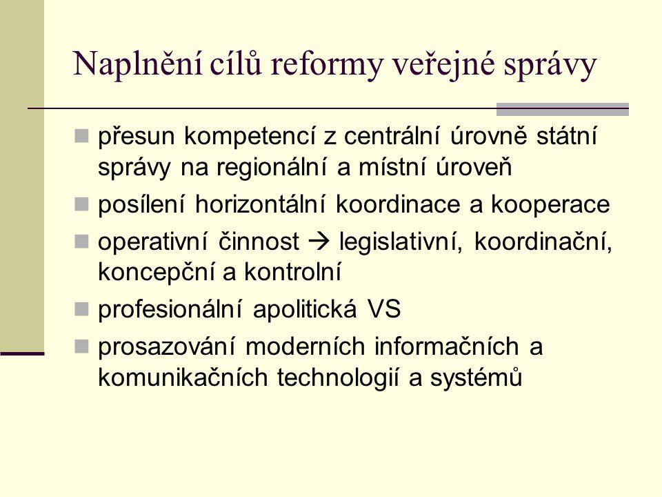 Naplnění cílů reformy veřejné správy