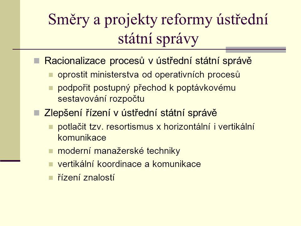 Směry a projekty reformy ústřední státní správy