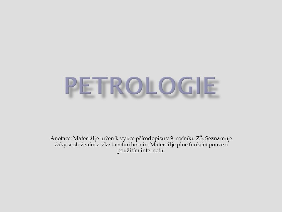 Petrologie