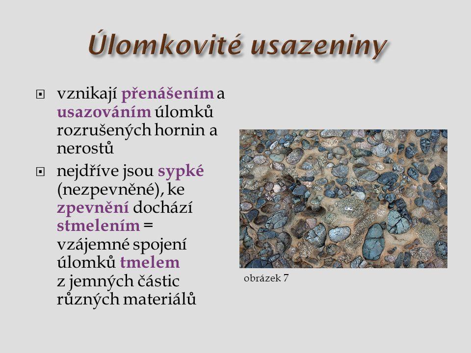 Úlomkovité usazeniny vznikají přenášením a usazováním úlomků rozrušených hornin a nerostů.