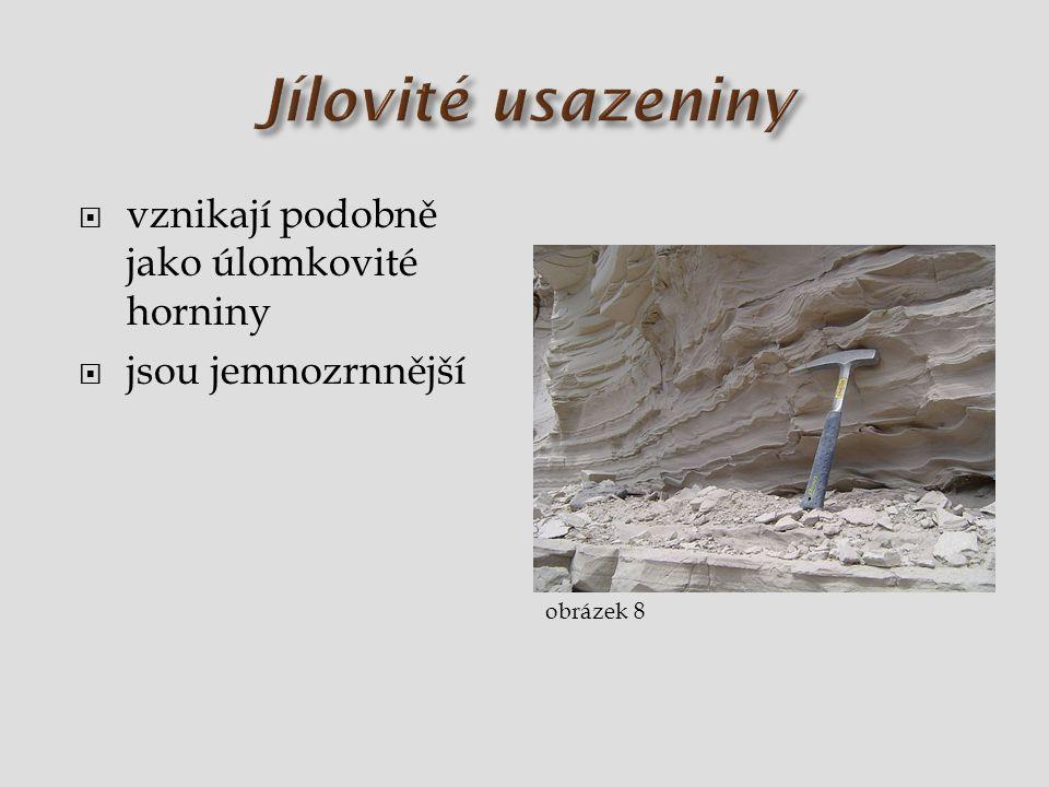 Jílovité usazeniny vznikají podobně jako úlomkovité horniny