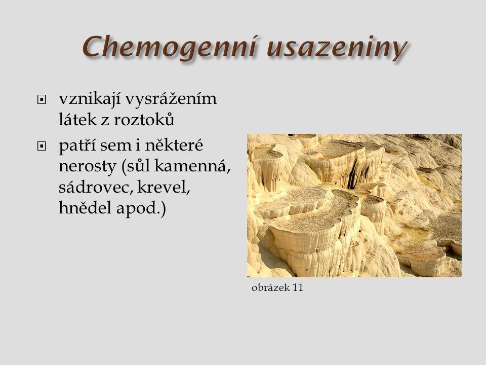 Chemogenní usazeniny vznikají vysrážením látek z roztoků