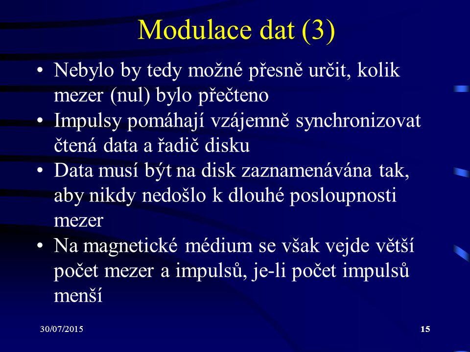 Modulace dat (3) Nebylo by tedy možné přesně určit, kolik mezer (nul) bylo přečteno.