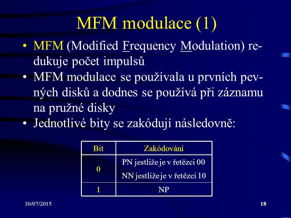 MFM modulace (1) MFM (Modified Frequency Modulation) re-dukuje počet impulsů.
