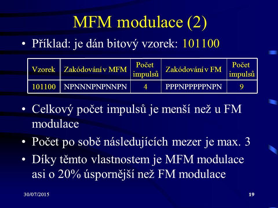 MFM modulace (2) Příklad: je dán bitový vzorek: 101100