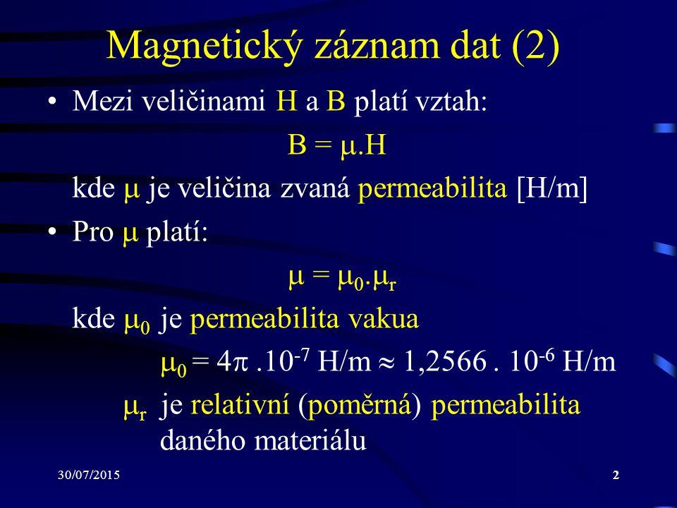 Magnetický záznam dat (2)