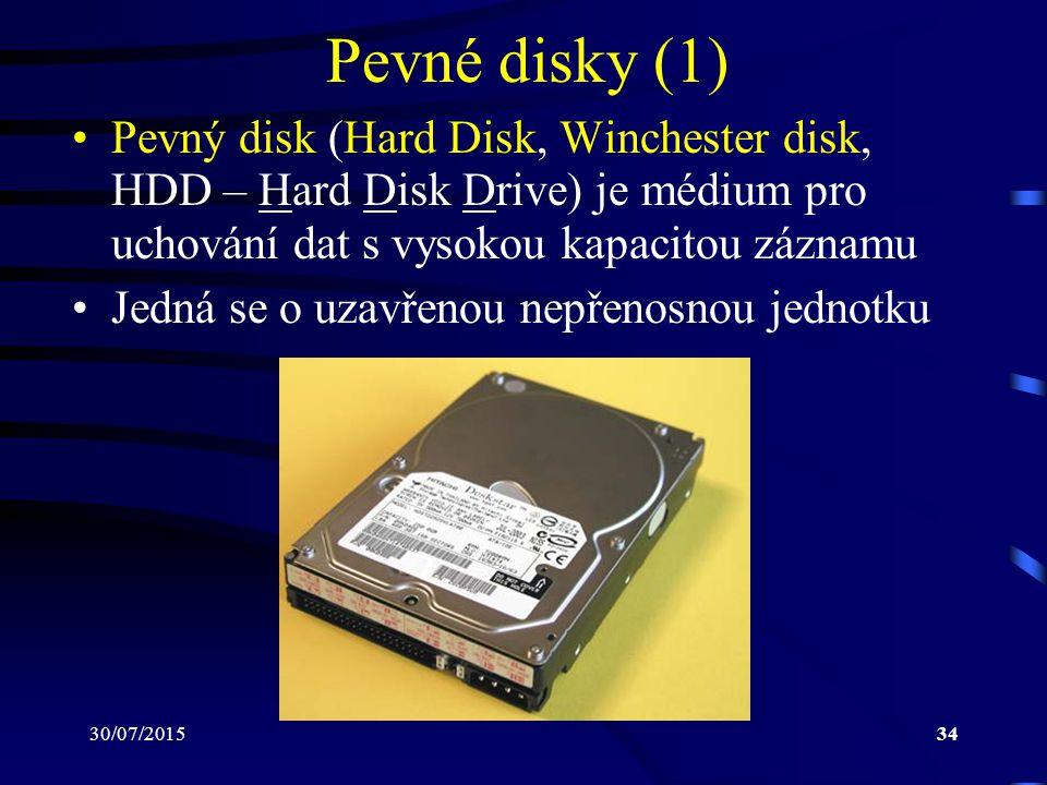 Pevné disky (1) Pevný disk (Hard Disk, Winchester disk, HDD – Hard Disk Drive) je médium pro uchování dat s vysokou kapacitou záznamu.