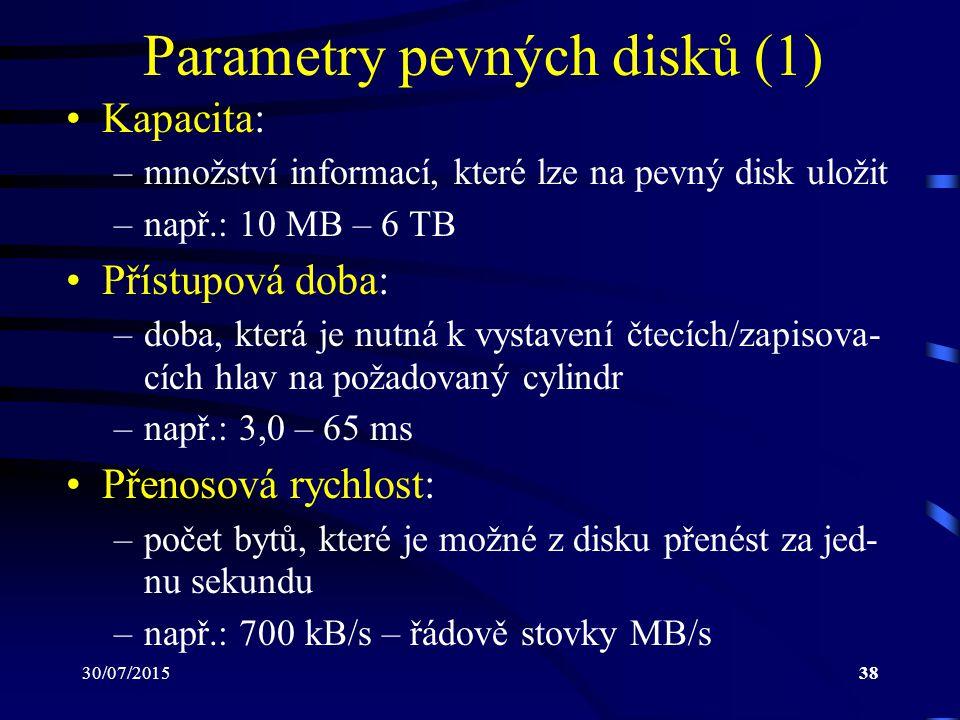 Parametry pevných disků (1)