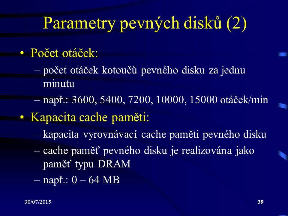 Parametry pevných disků (2)