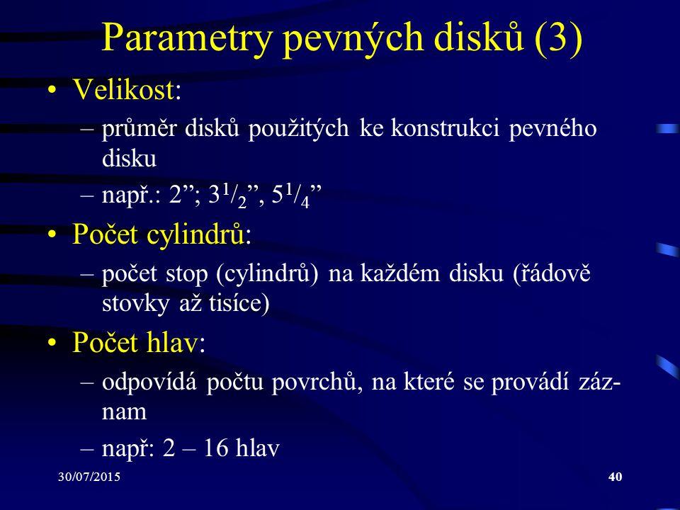 Parametry pevných disků (3)