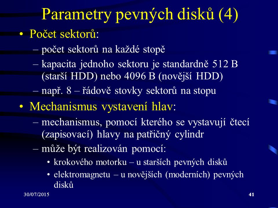 Parametry pevných disků (4)