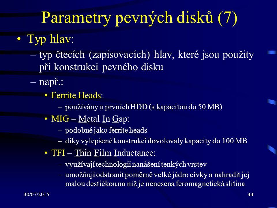Parametry pevných disků (7)