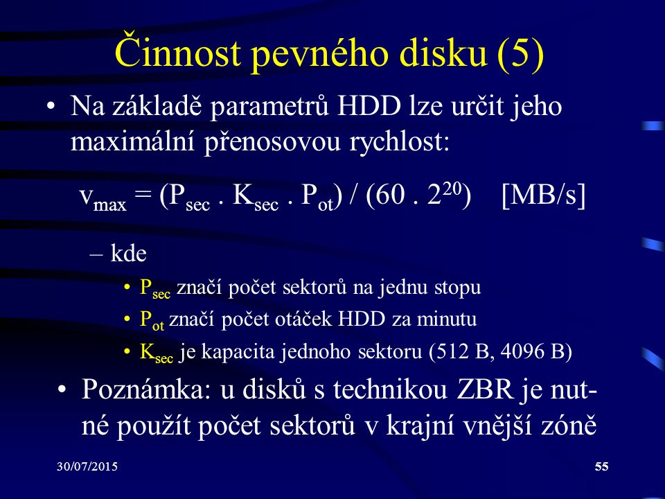 Činnost pevného disku (5)