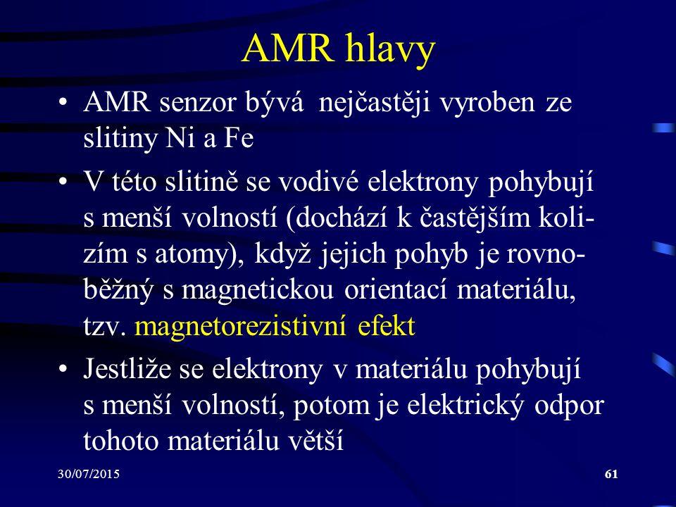 AMR hlavy AMR senzor bývá nejčastěji vyroben ze slitiny Ni a Fe