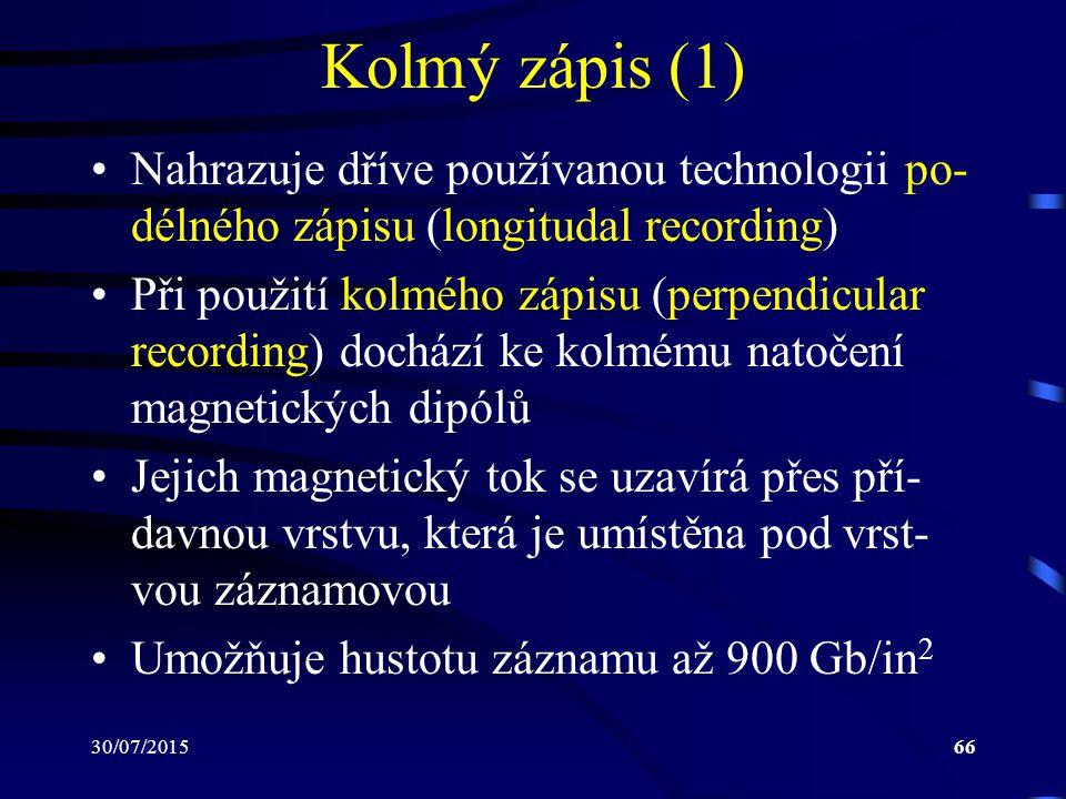 Kolmý zápis (1) Nahrazuje dříve používanou technologii po-délného zápisu (longitudal recording)