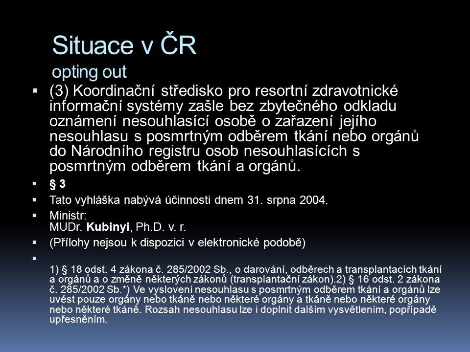 Situace v ČR opting out