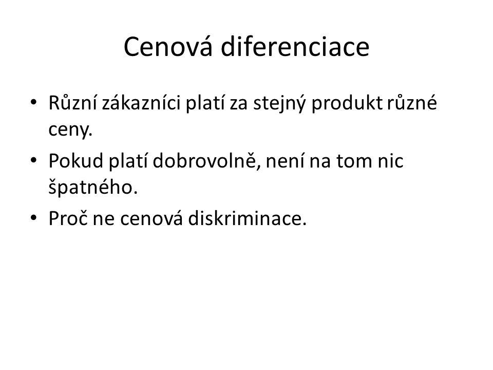 Cenová diferenciace Různí zákazníci platí za stejný produkt různé ceny. Pokud platí dobrovolně, není na tom nic špatného.