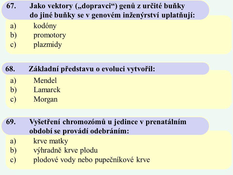 """67. Jako vektory (""""dopravci ) genů z určité buňky"""