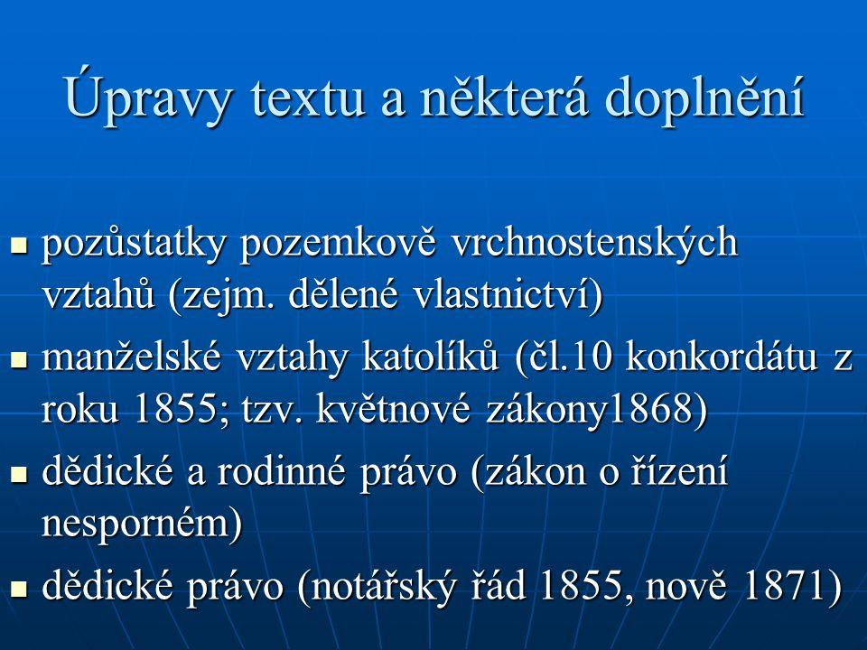 Úpravy textu a některá doplnění