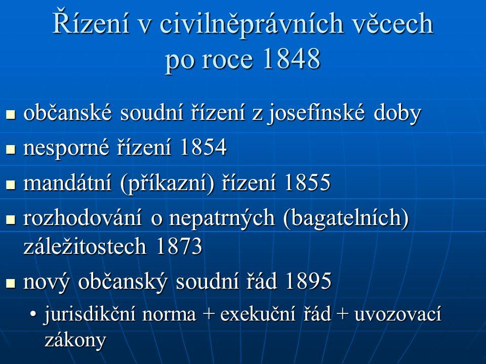 Řízení v civilněprávních věcech po roce 1848