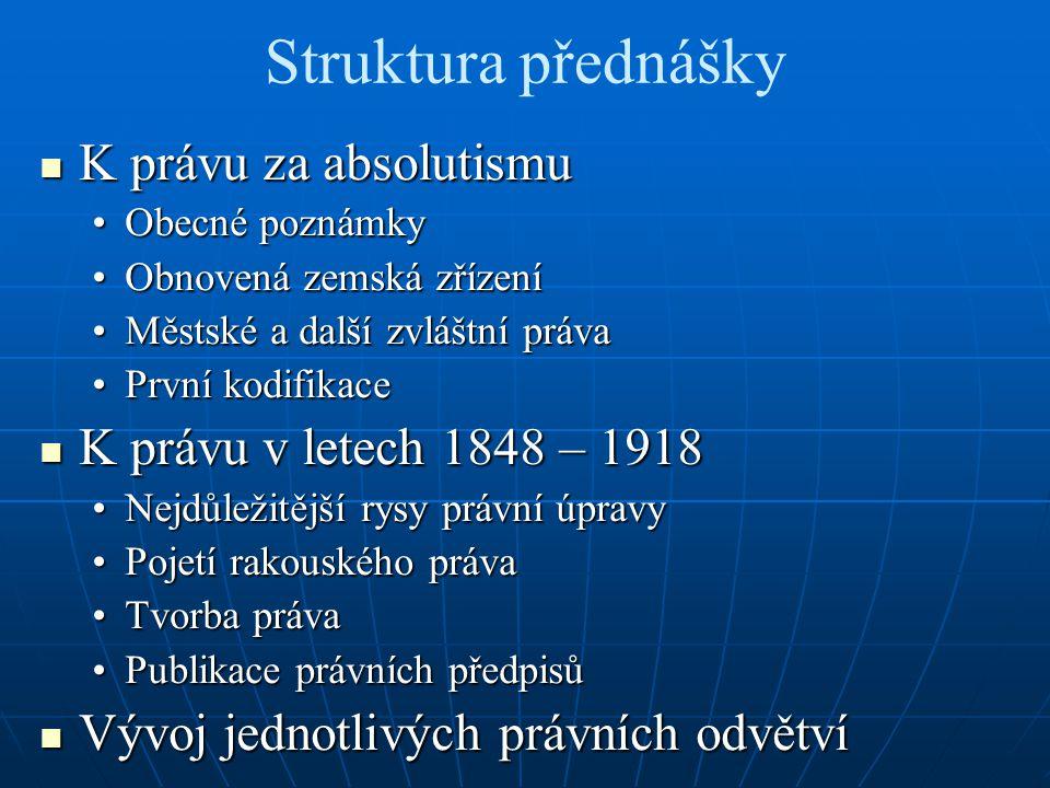 Struktura přednášky K právu za absolutismu