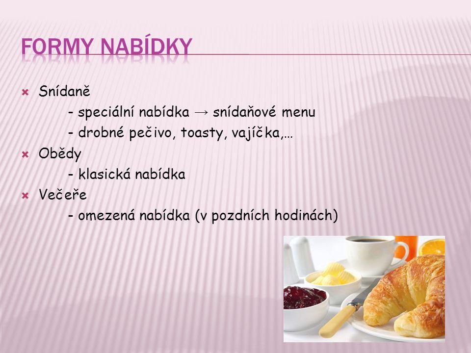 Formy nabídky Snídaně - speciální nabídka → snídaňové menu