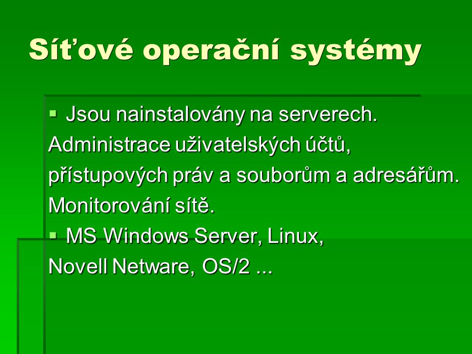 Síťové operační systémy