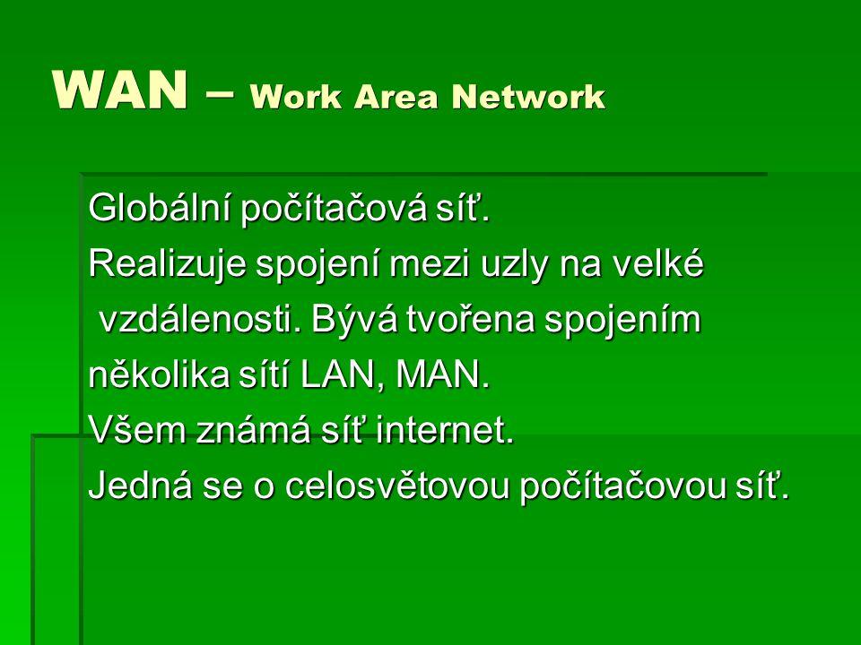 WAN – Work Area Network Globální počítačová síť.