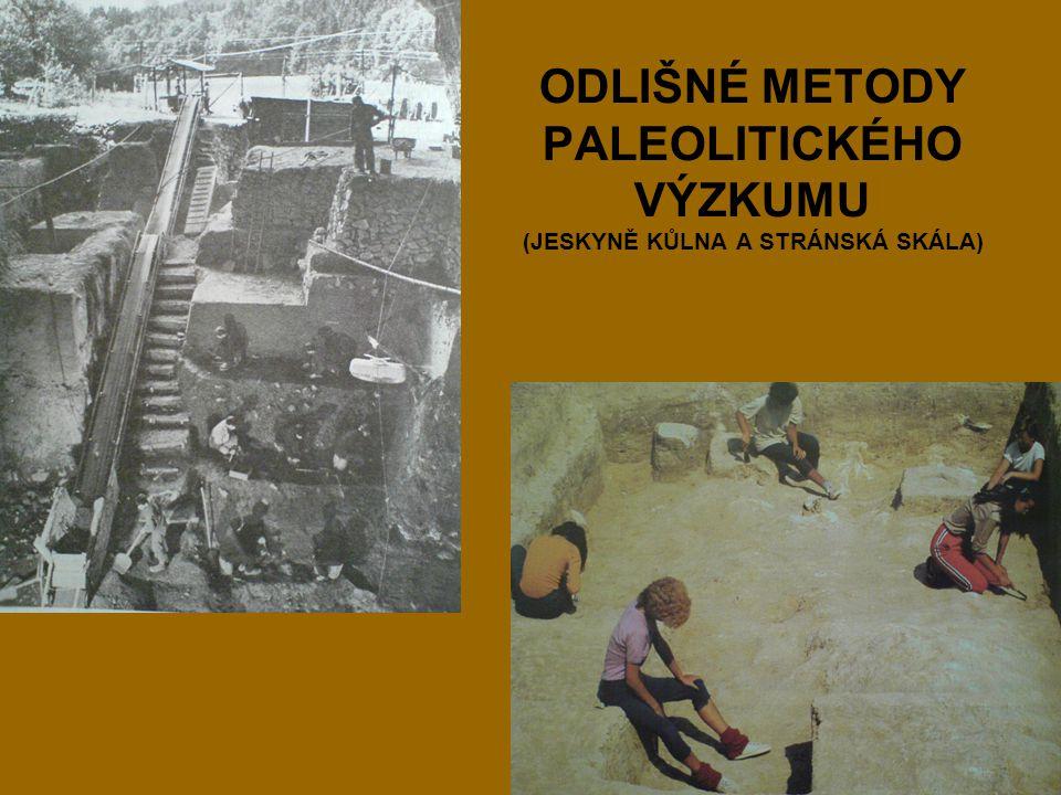 ODLIŠNÉ METODY PALEOLITICKÉHO VÝZKUMU (JESKYNĚ KŮLNA A STRÁNSKÁ SKÁLA)