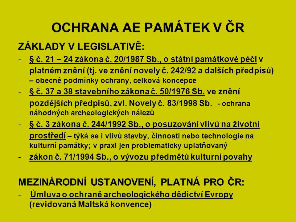 OCHRANA AE PAMÁTEK V ČR ZÁKLADY V LEGISLATIVĚ: