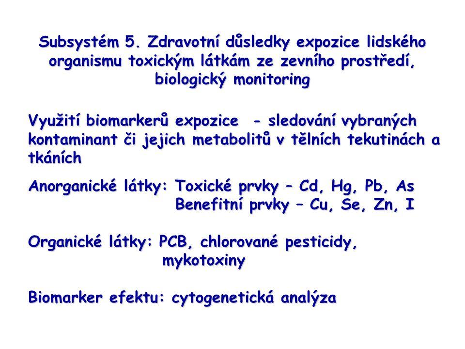 Subsystém 5. Zdravotní důsledky expozice lidského organismu toxickým látkám ze zevního prostředí, biologický monitoring