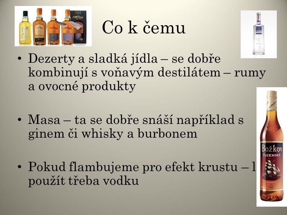 Co k čemu Dezerty a sladká jídla – se dobře kombinují s voňavým destilátem – rumy a ovocné produkty.