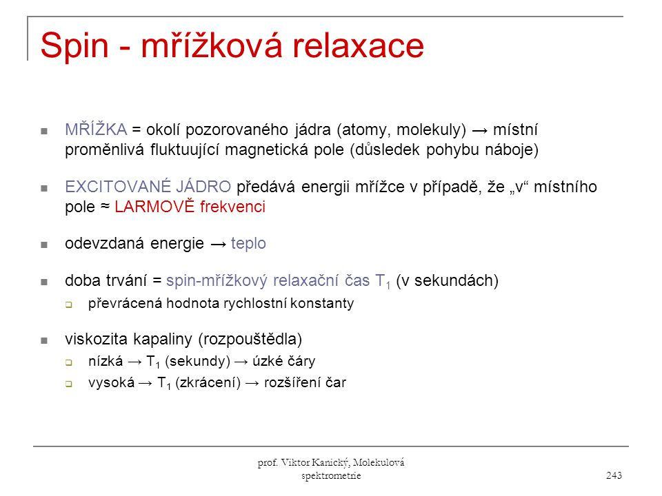 Spin - mřížková relaxace
