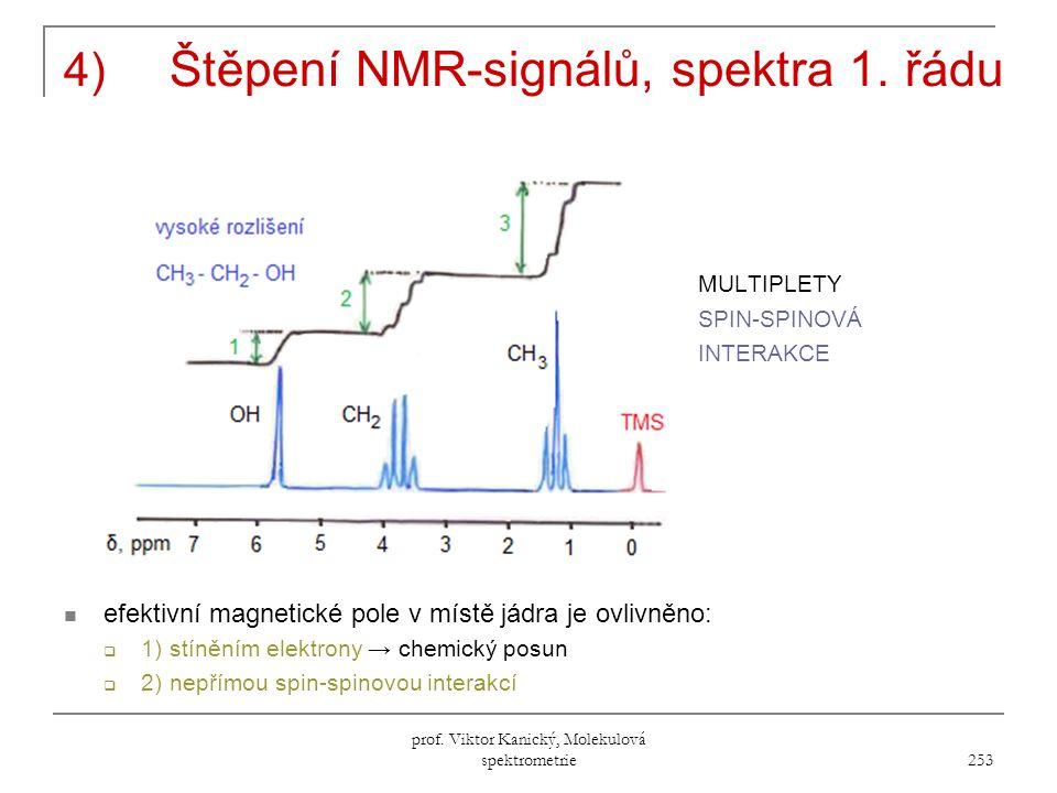 4) Štěpení NMR-signálů, spektra 1. řádu