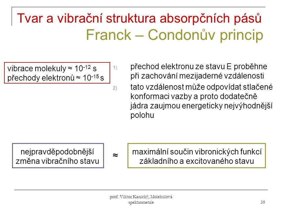 Tvar a vibrační struktura absorpčních pásů Franck – Condonův princip