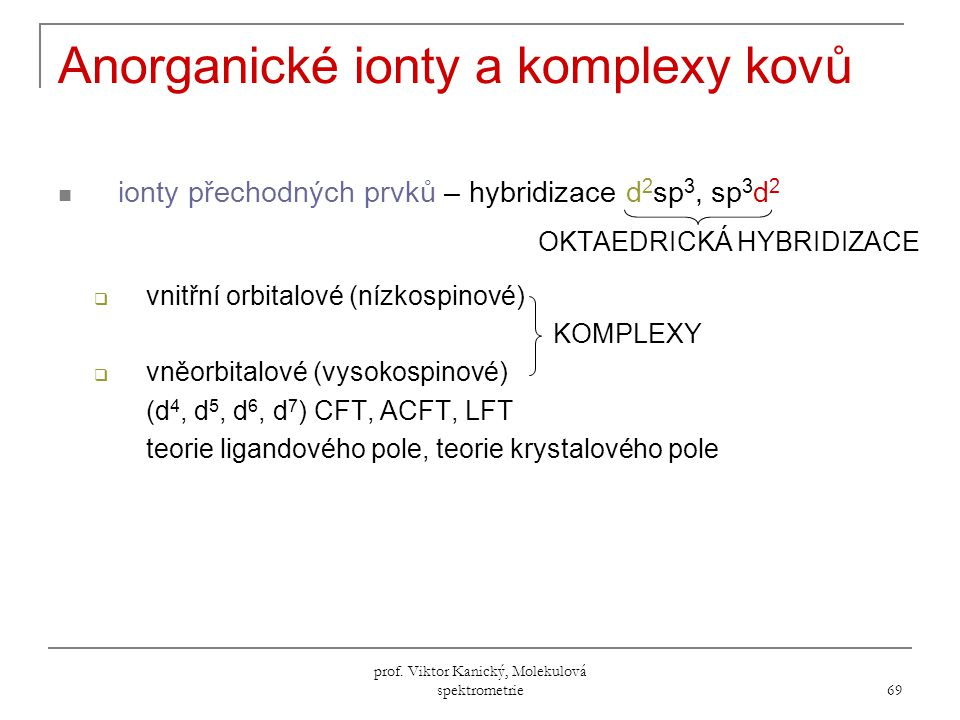 Anorganické ionty a komplexy kovů