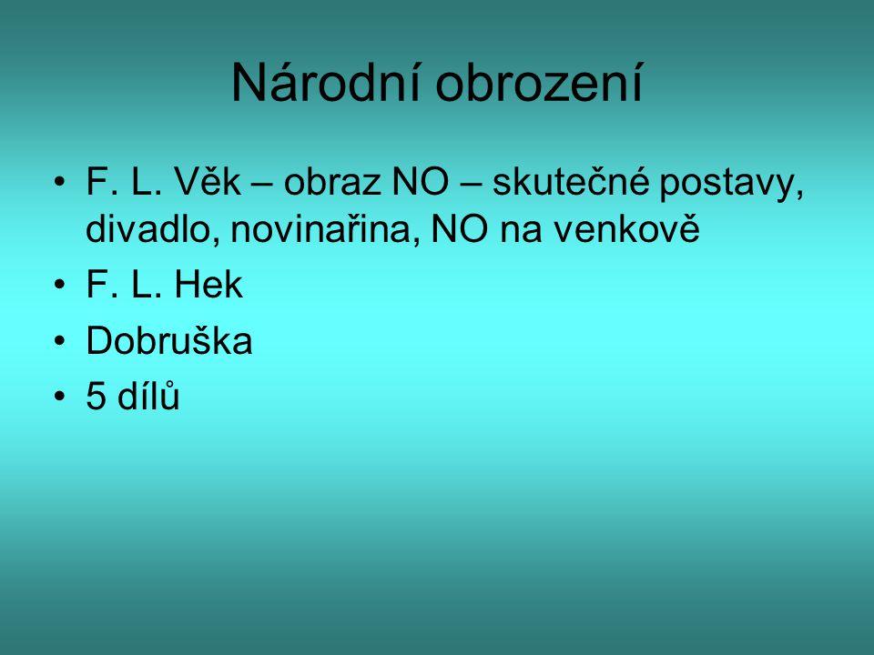 Národní obrození F. L. Věk – obraz NO – skutečné postavy, divadlo, novinařina, NO na venkově. F. L. Hek.