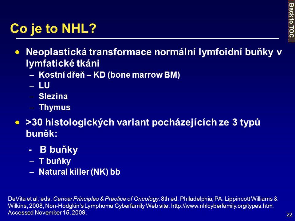 Co je to NHL Back to TOC. Neoplastická transformace normální lymfoidní buňky v lymfatické tkáni. Kostní dřeň – KD (bone marrow BM)