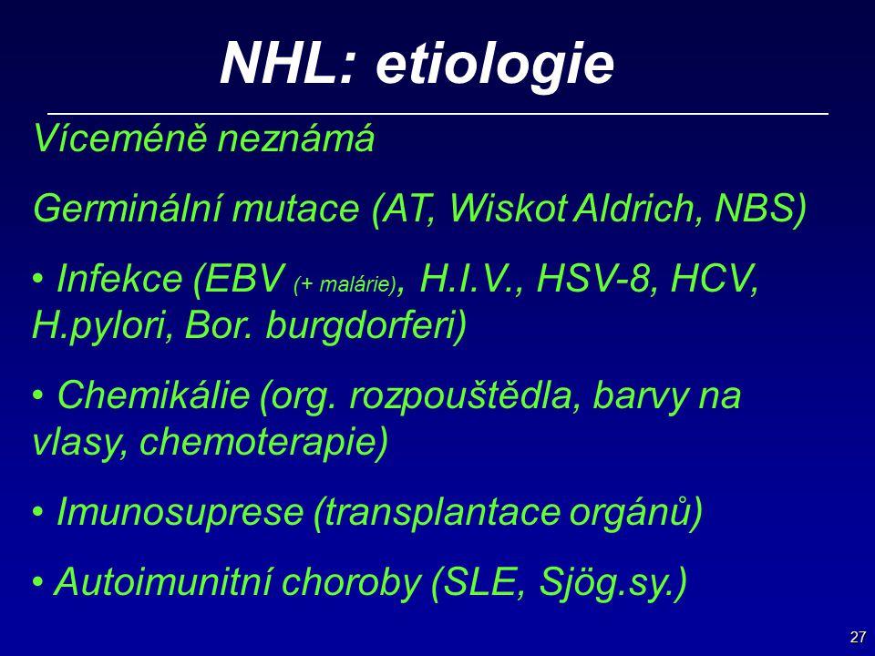 NHL: etiologie Víceméně neznámá