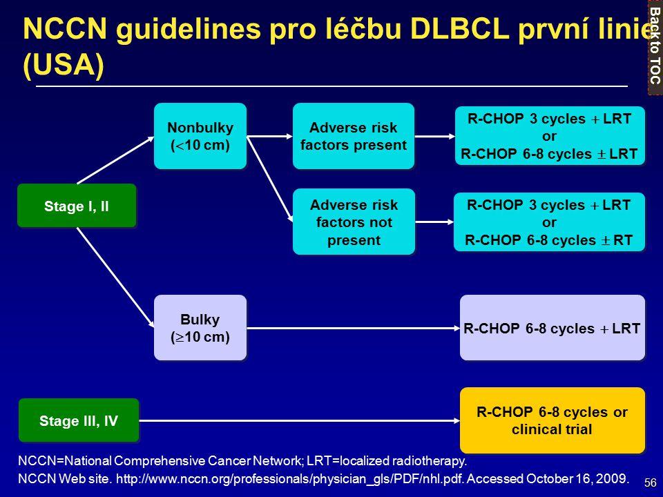 NCCN guidelines pro léčbu DLBCL první linie (USA)