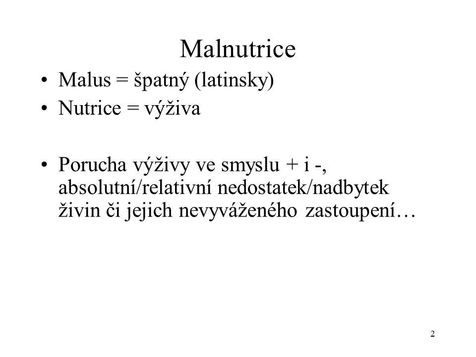 Malnutrice Malus = špatný (latinsky) Nutrice = výživa