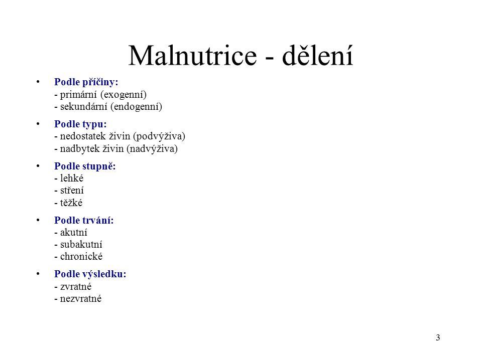Malnutrice - dělení Podle příčiny: - primární (exogenní) - sekundární (endogenní)