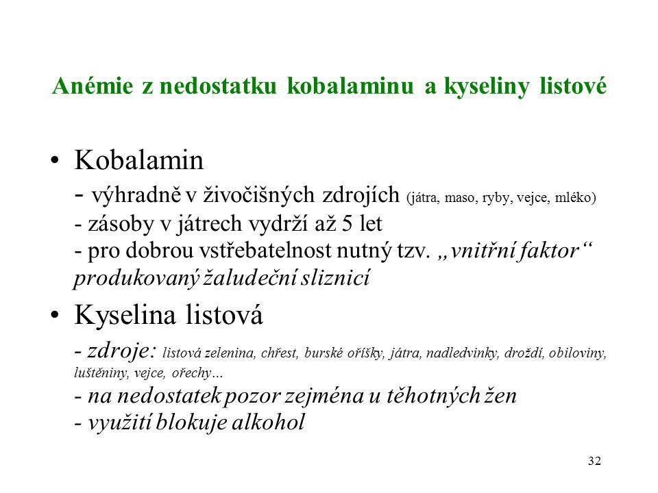 Anémie z nedostatku kobalaminu a kyseliny listové