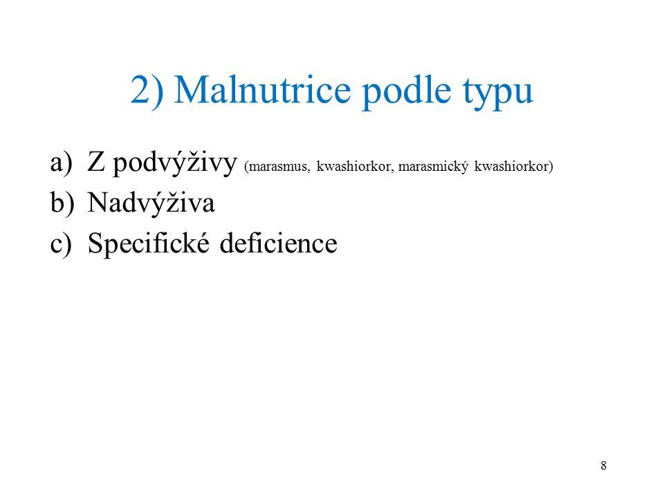 2) Malnutrice podle typu