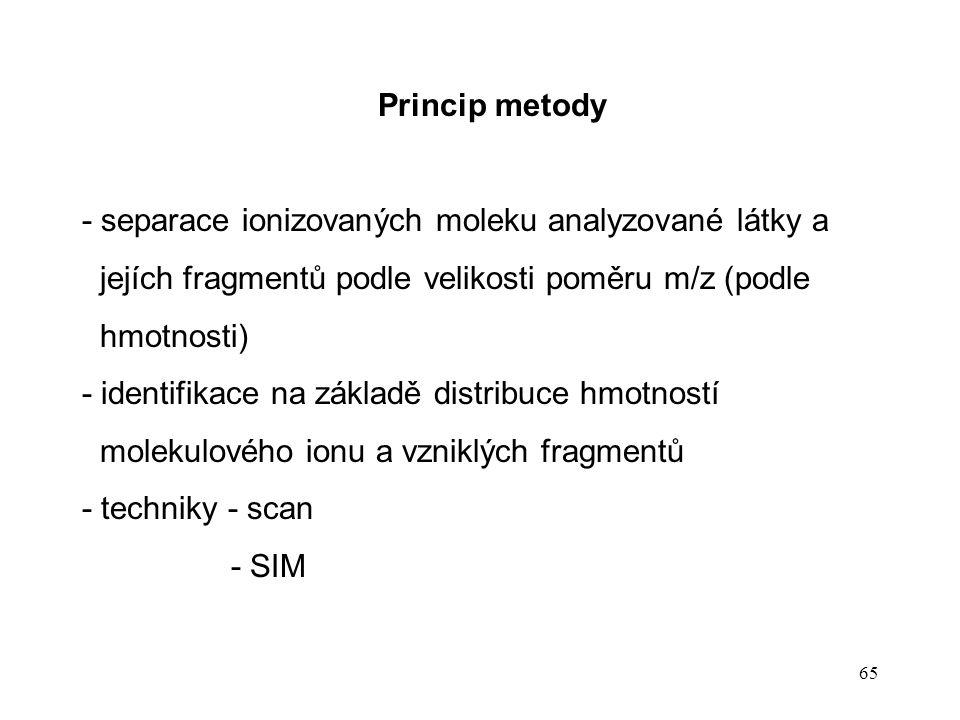 Princip metody - separace ionizovaných moleku analyzované látky a. jejích fragmentů podle velikosti poměru m/z (podle.
