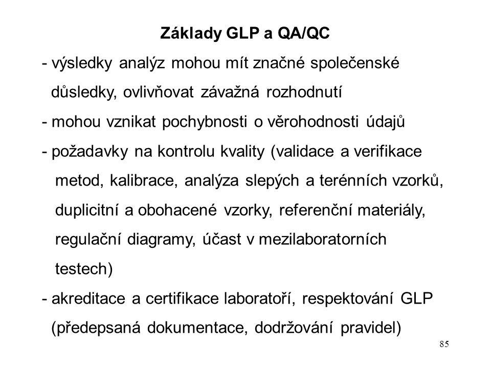 Základy GLP a QA/QC - výsledky analýz mohou mít značné společenské. důsledky, ovlivňovat závažná rozhodnutí.