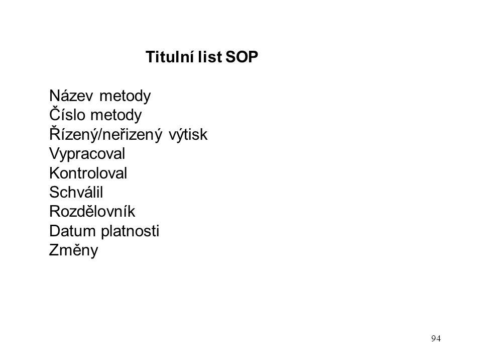 Titulní list SOP Název metody. Číslo metody. Řízený/neřizený výtisk. Vypracoval. Kontroloval. Schválil.