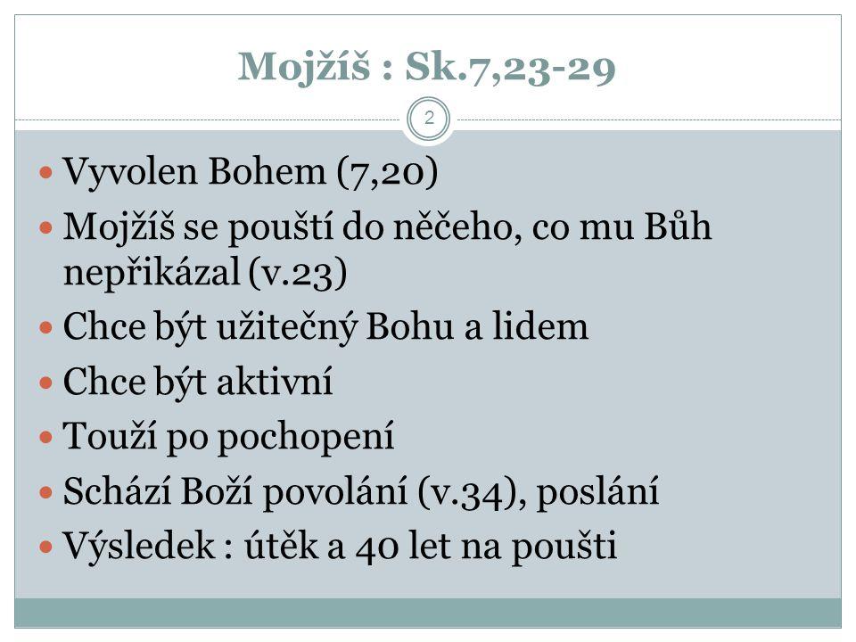 Mojžíš : Sk.7,23-29 Vyvolen Bohem (7,20)